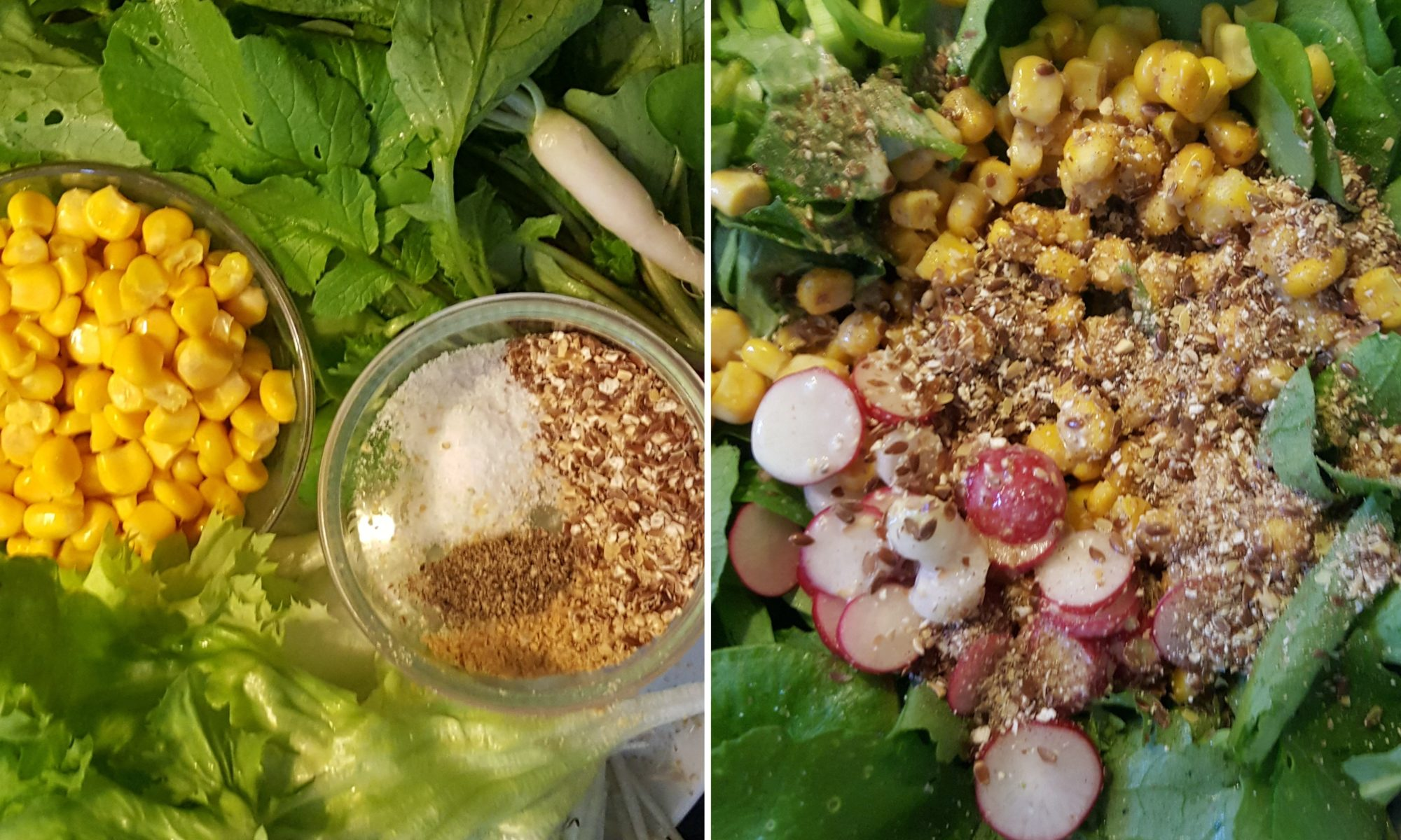 Frühlingssalat mit Schwedenmilch und Topping